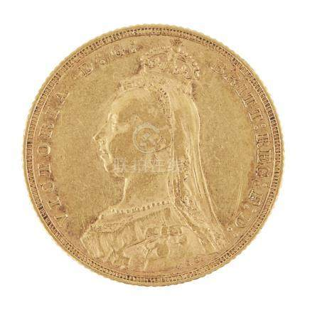 G.B - A sovereign 1891 Melbourne mint Jubilee head, (F)