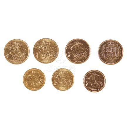G.B. - A collection of gold sovereigns and half sovereigns 1902 Perth; 1912; 2000 proof; 2002 proof;