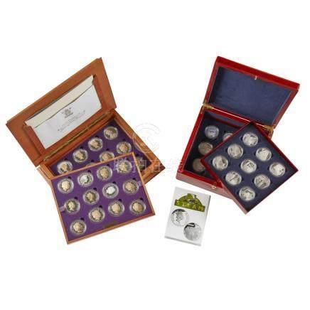 G.B. - Two cased proof sets of coins The golden Age of Steam, 18 silver coins in wood presentation
