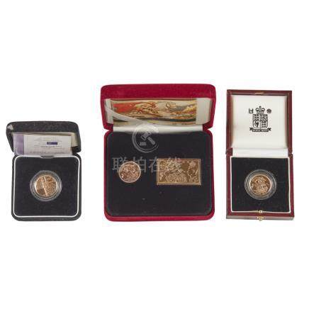 G.B. - Two cased proof sovereigns 1998 and 2001 sovereign with gilt stamp replica with Alderney