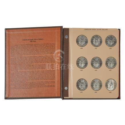USA - An album of proof silver dollars Eagle silver dollars 1986b to date six lacking, album by