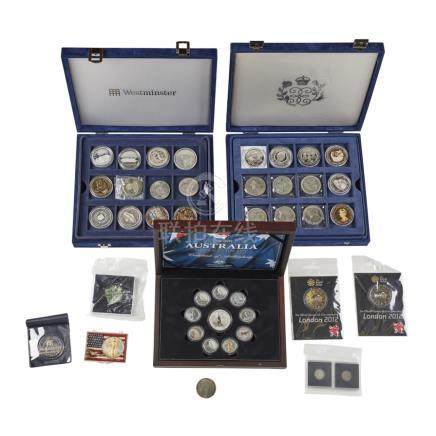 A collection of proof silver and other coins 2007 proof silver 20p; group of miscellaneous gilt