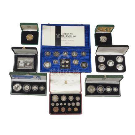A collection of silver and other proof coins Cased pair of silver proof crowns, Entente Cordiale (
