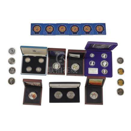 A collection of silver and other proof coins 2016 silver maple coin set; nine various silver proof