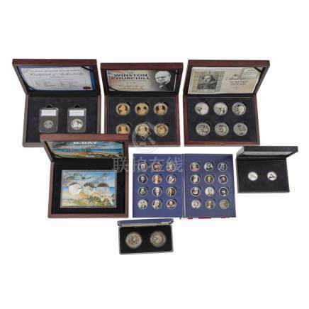 A collection of various proof coins cased set of Solomon Islands $20 proof coins famous ships ((24);