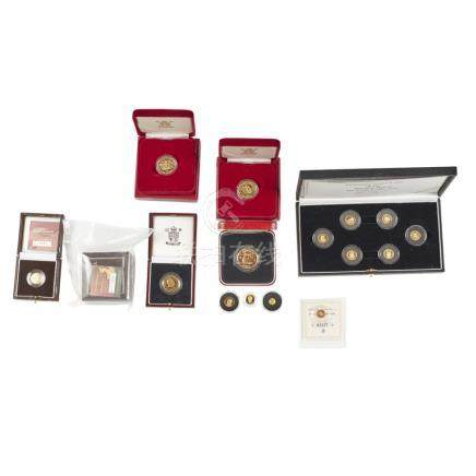 A group of various gold proof coins cased set Miniature gold coins of the Ancient world; Guernsey £