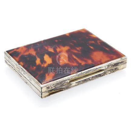 A French silver gilt and faux tortoiseshell minaudiere marked 800, the rectangular case with moulded