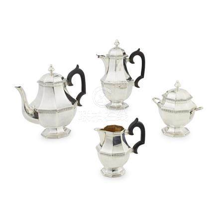 A French silver four-piece tea service circa 1920, comprising teapot, water pot, twin handled
