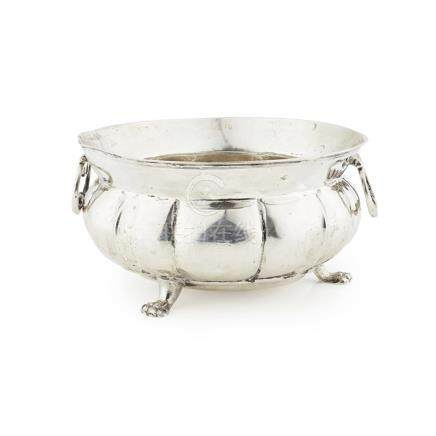An 18th century twin handled bowl three indistinct marks, the verted rim with two drop handles,