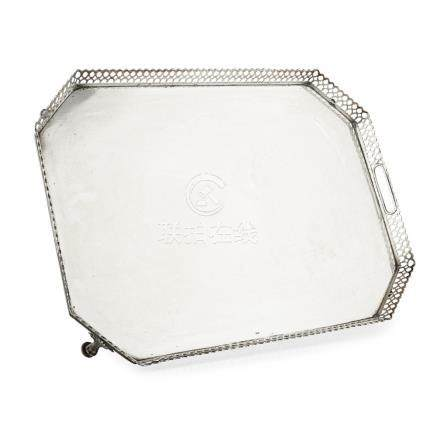 A large Portuguese silver tray Porto, 833 standard, of rectangular form with cut corners, raised