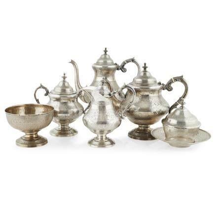 A Portuguese silver six-piece tea service Lisbon, late 1880s, comprising a teapot, a water pot, a