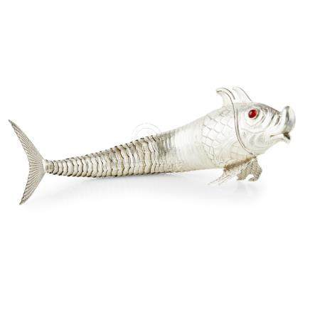 A large articulated fish unmarked, good articulated body section, the head with hinged compartment