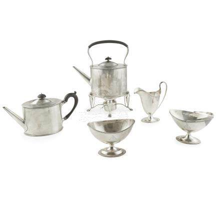 A late-18th century style American five piece tea service retailed by Crichton Bros. London, New