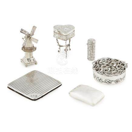 A collection of early 20th century and other silver to include; a heart shaped miniature table