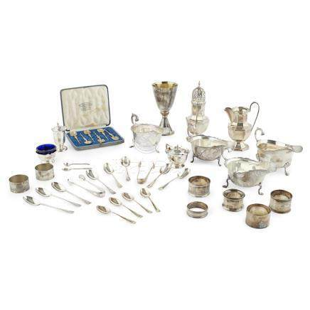 A miscellaneous collection of modern silver to include, a commemorative cased goblet, Mappin & Webb,