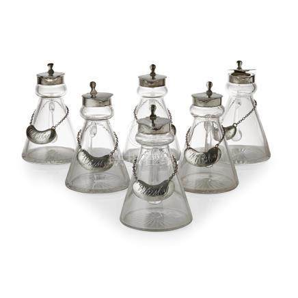 A set of six whisky noggins Charles Packer & Co Ltd, London 1939, each with glass body of typical