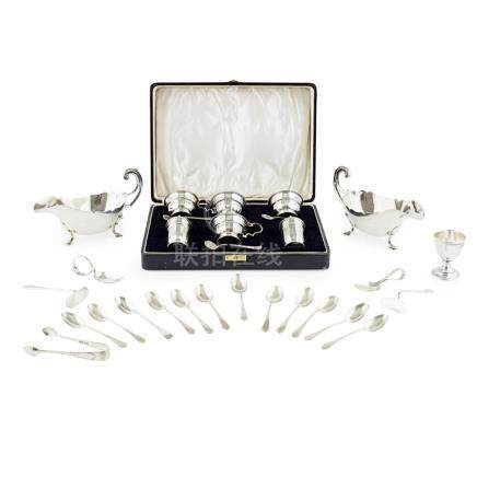A cased condiment set L & R., Birmingham 1937, comprising two salts, two mustards, two peppers and