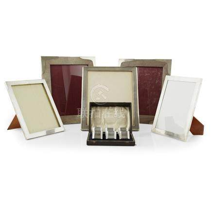 A collection of frames to include two shagreen unmarked frames, a plain frame, two smaller