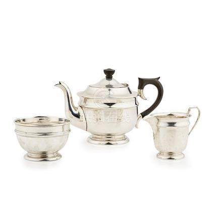 A matched 1930s three-piece tea service Viners Ltd., Sheffield, comprising teapot, sugar basin and