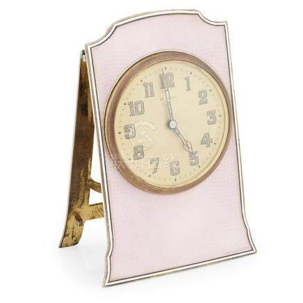 A silver gilt and enamelled dressing table clock import marks for Wilsdorf & Davis, London 1925, the