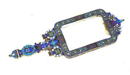 Russian Silver Enamel Mirror Signed