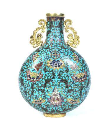 18th Cen. Chinese Cloisonne Moon Flask Vase