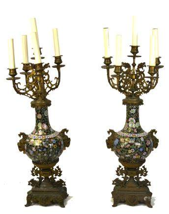 Pr Chinese Style Cloisonne Vases Candelabras