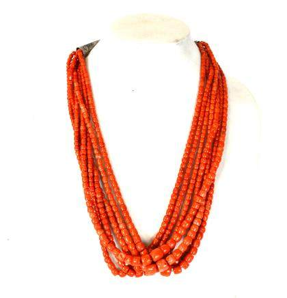 Seven Strands Red Coral Beads Necklace