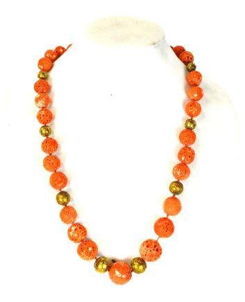 Large Coral Beads Necklace w 18K Gold