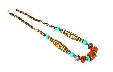 Chinese Dzi & Amber Beads Necklace