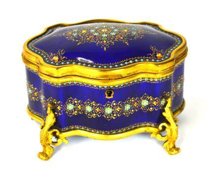 French Jeweled Enamel Box
