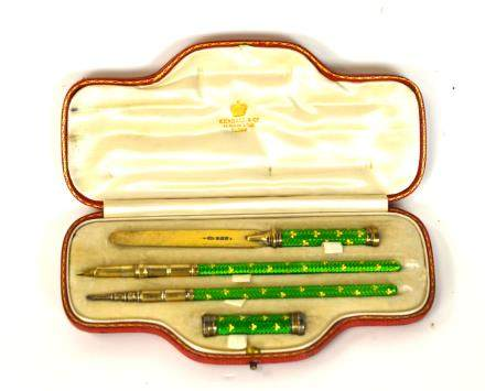 Kendall & Co. Silver Enamel Stationary Set