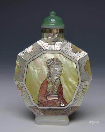 MOTHER OF PEARL SNUFF BOTTLE WITH MARK
