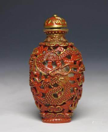 RARE PIERCED PORCELAIN RED DRAGON SNUFF BOTTLE MARK