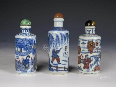 SET OF THREE  PORCELAIN SNUFF BOTTLES