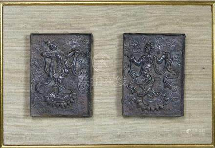 TWO LIAO DYN. SILVER APPLIQUES OF DANCING DEITIES