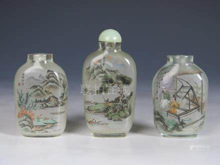 SET OF THREE INSIDE PAINTED SNUFF BOTTLES