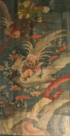 LARGE KESI EMBRIODERED SILK PANEL OF BIRDS