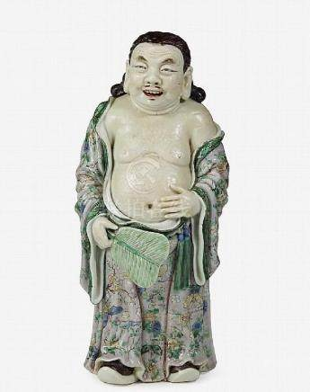 18TH C. FAMILLE VERTE PORCELAIN FIGURE OF ZHONHLI QUA