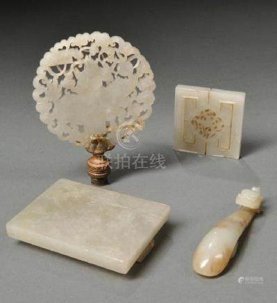 FOUR  CHINESE WHITE JADE CARVINGS