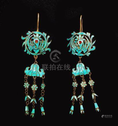 CHINESE KINGFISHER FEATHER EARRINGS