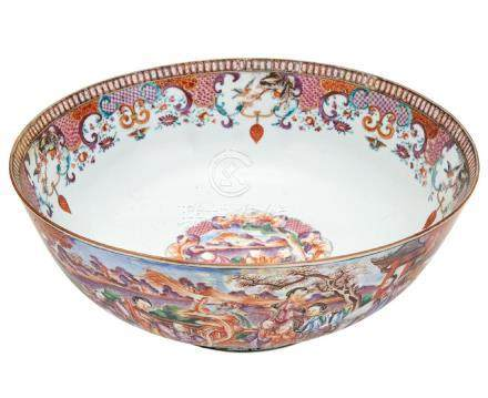 CHINESE EXPORT PORCELAIN MANDARIN PALETTE PUNCH BOWL