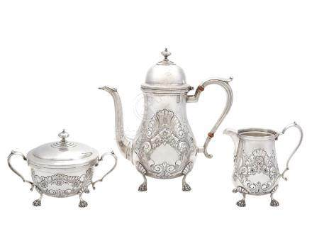 AMSTON STERLING SILVER THREE-PIECE COFFEE SERVICE
