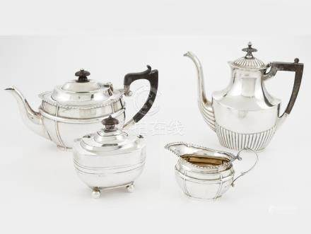 ASSEMBLED STERLING SILVER FOUR-PIECE TEA SERVICE