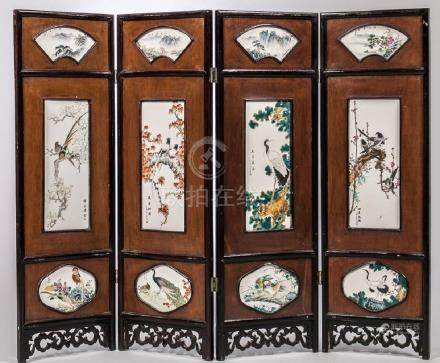 FOUR PANEL ENAMELED PLAQUE SCREEN
