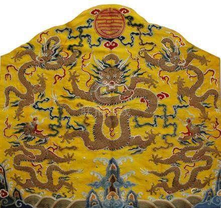 SILK EMBRIODERED FIVE DRAGON PANEL