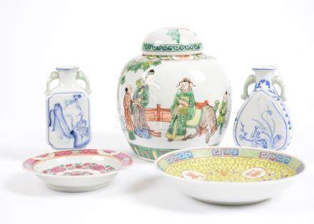A collection of 20th Century Chinese and Japanese porcelain, including a ginger jar, saucers,