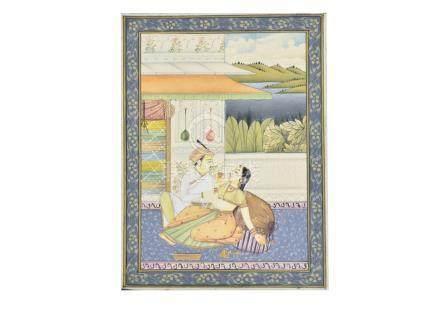 20th Century Indian School miniature on board, 'Courtship Scene', 10.2 cm x 7.5 cm