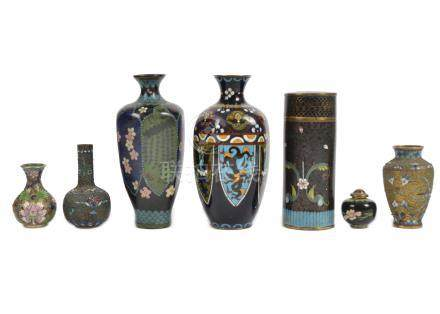 A collection of cloisonne items, including vases, largest 18.5 cm high, pots, miniature bowls and