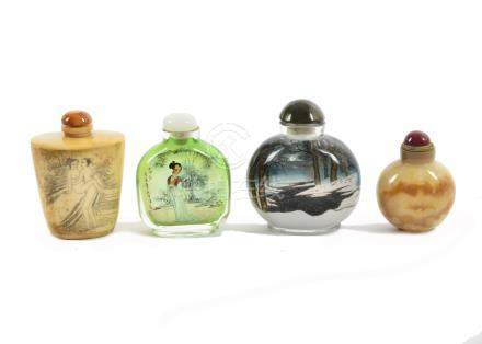 A group of four Chinese snuff and scent bottles, comprising two reverse painted glass examples, an